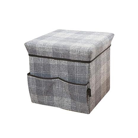 Amazon.com: Taburete de almacenamiento de lino tapizado puff ...