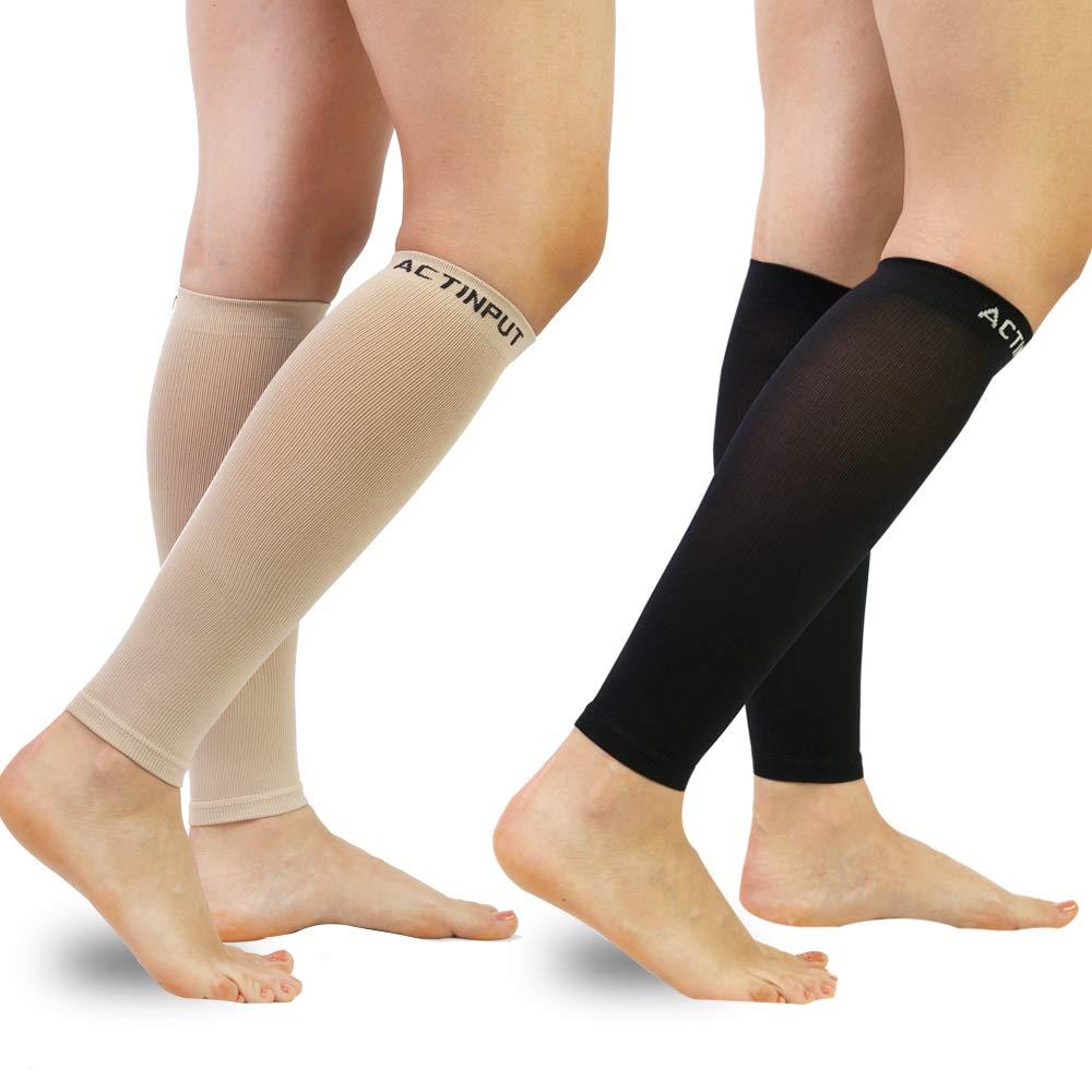 Compression Calf Sleeves (20-30mmHg) for Men & Women- Leg Compression Socks for Shin Splint,Running,Medical, Travel, Nursing (Black+Nude, Medium) by ACTINPUT