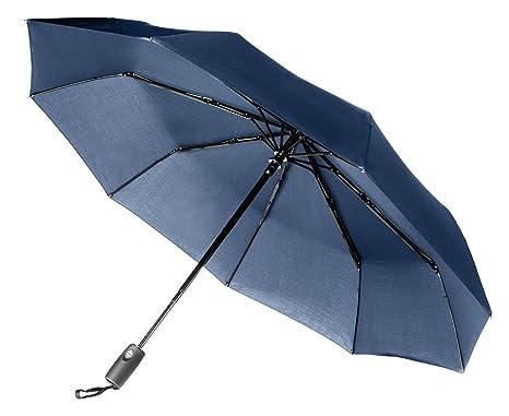 Aukelly Paraguas Negro de Viaje Plegable con Apertura y Cierre Automático Antiviento (azul)