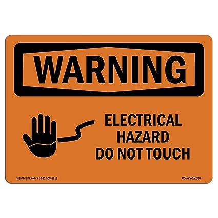 Letrero de advertencia de Osha - peligro eléctrico no tocar ...