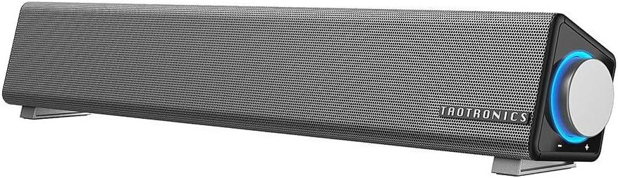 TaoTronics Computer Speakers, Wired Computer Sound Bar, Stereo USB Powered Mini Soundbar Speaker for PC Tablets Desktop Cellphone Laptop(Upgrade) (Renewed)