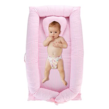 Baby Bassinet for Bed//Lounger//Nest//Pod//Cot Bed//Sleeping 0-24 Months Breathable /& Hypoallergenic Cotton TEALP Multifunctional Baby Nest Pink Flamingo Feather Floral Print