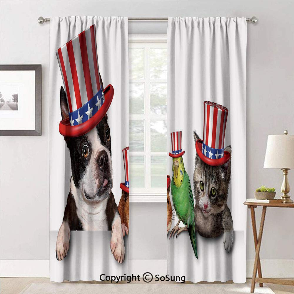 Drape for Dining Room,Cute Pet Dog Cat Bird and Hamster with American Hat Celebration Multicolor,Elegant Soft Durable Curtain for Door,42x84inch Each,2 Panels by RWN Curtain