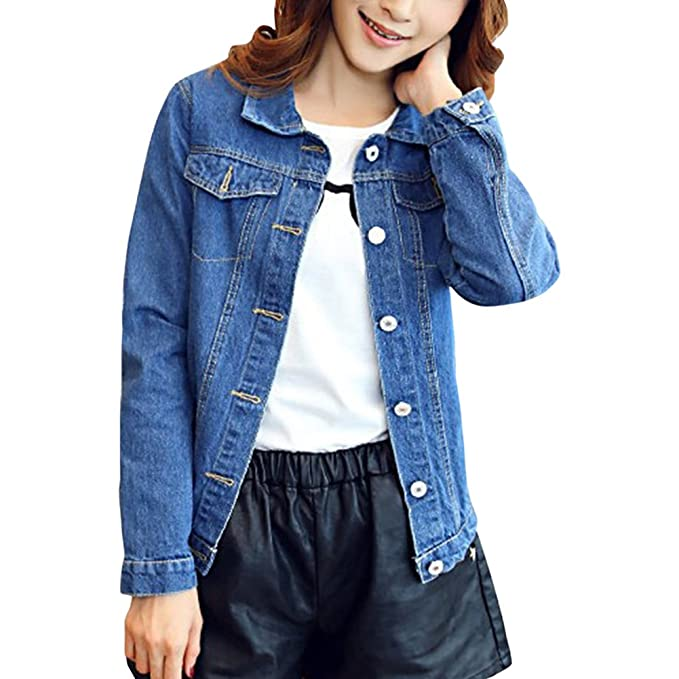 Giacca da donna in denim giacca corta in jeans moda Slim manica lunga cappotto
