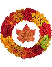 Noverlife Artifical Maple Leaf Hanging Plants Autumn Foliage String LED Light for Home Garden Party Wedding Decoration, Fake Maple Leaves Garland Floral Arrangements for Wall Porch Patio Arch Balcony