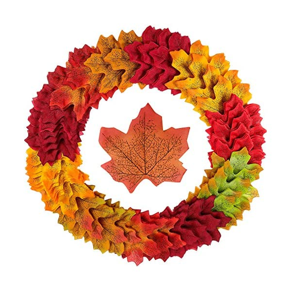Noverlife 500PCS Artificial Maple Leaves Autumn Foliage Garland Wreath Decorations, 10 Assorted Colors Fake Fallen Leafage for Weddings Party Thanksgiving Festival Table Centerpiece Fall Photo Props