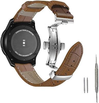 Aottom para Correas Samsung Gear S3 Frontier/Classic Piel,Correa Galaxy Watch 46mm Cuero con Butterfly Hebilla de Acero Inoxidable,Correa 22mm Pulseras de Repuesto para Galaxy Watch 46 mm/Gear s3: Amazon.es: Electrónica