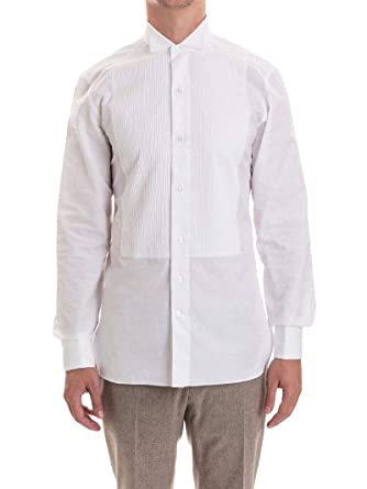 baa8609058 Z Zegna Men's 8019669MENSM White Cotton Shirt at Amazon Men's ...