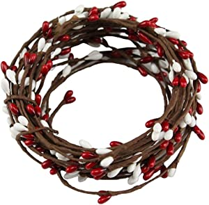 HAPPY DEALS ~ Pip Berry Garland   21.5 Feet Long   Red White Christmas Colors   Country Primitive Floral Craft Decor (2 Pack)