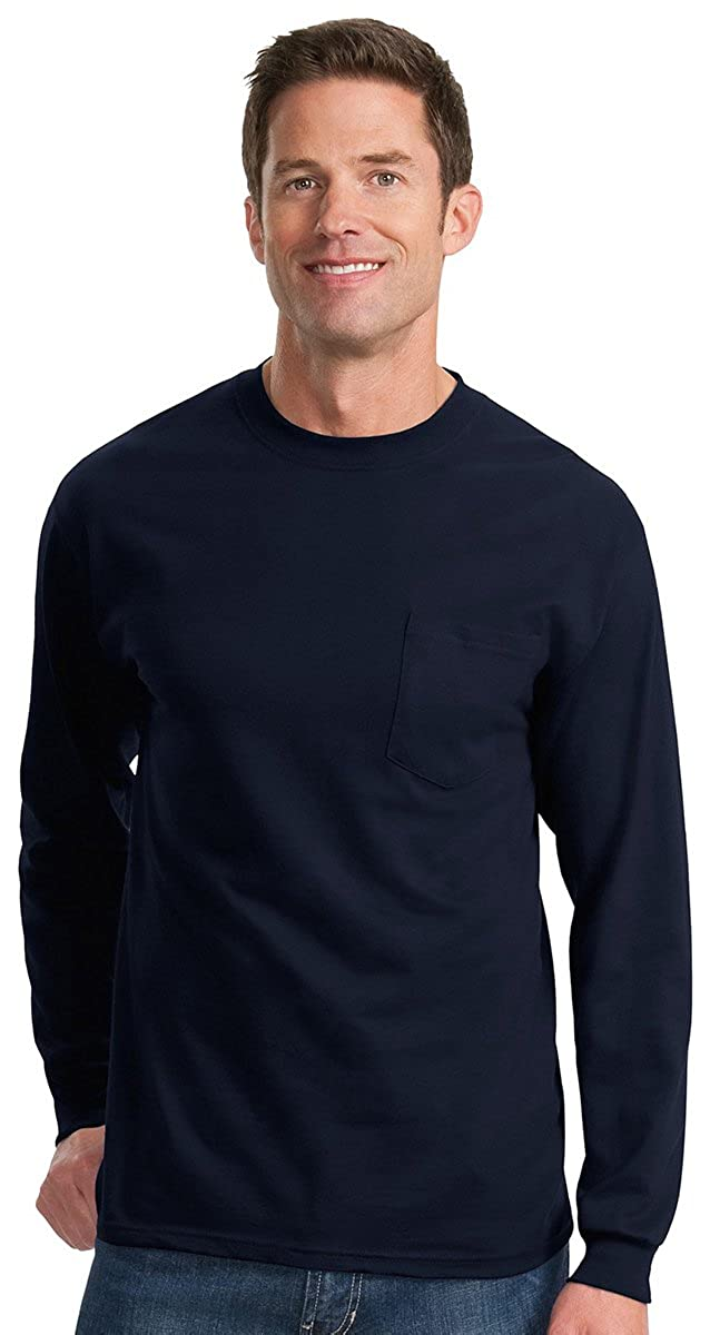 PC61LSP 100/% Cotton Long Sleeve T-Shirt with Pocket Port /& Company