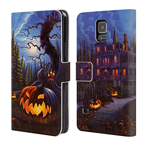 Official Geno Peoples Art Jac-O-Lantern Lane Halloween Leather Book Wallet Case Cover For Samsung Galaxy S5 / S5 Neo