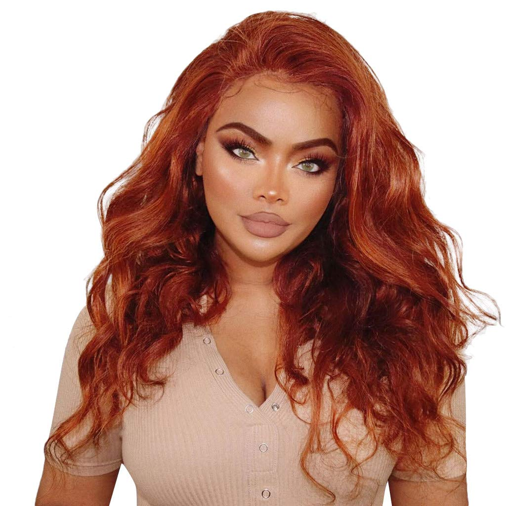 Wusad Fashion Lace Long Wigs Wave Curly,Natural,Heat Resistant Fiber Orange Wigs 24inch