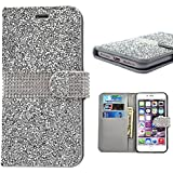 iPhone 8 Plus Case, iPhone 7 Plus Wallet Cover, Bling Glitter Rhinestone PU Leather Flip Protective Skin Cover with Kickstand and Credit Card Function Fit for Apple iPhone 7/8 Plus 5.5 inch (Silver)