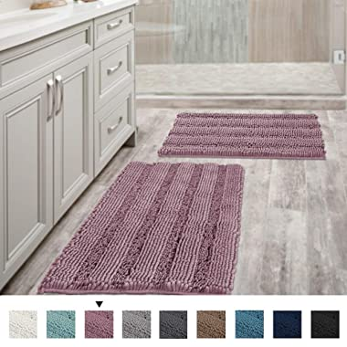 Mauve Bathroom Rugs Ultra Thick and Soft Texture Chenille Plush Striped Floor Mats Hand Tufted Bath Rug with Non-Slip Backing Microfiber Door Mat for Kitchen/Entryway (Pack 2-20  x 32 /17  x 24 )
