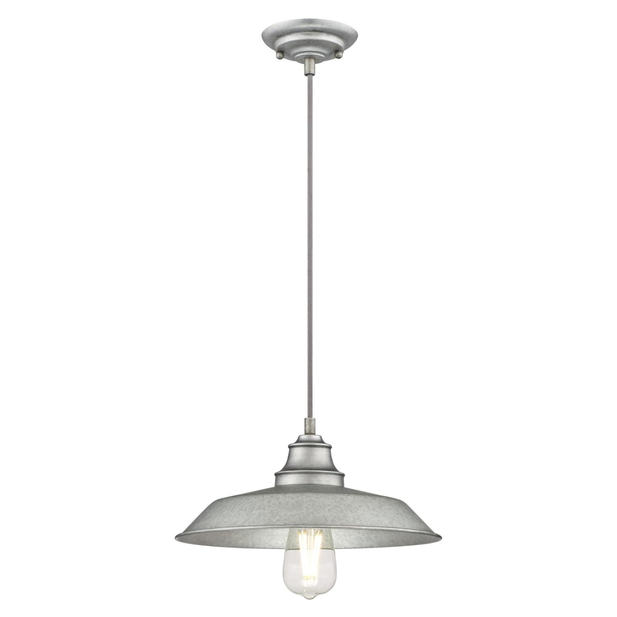 Westinghouse  6354600 Iron Hill One-Light Indoor Pendant, Galvanized Steel Finish with Metal Shade