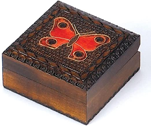 Butterfly Box Chest Polish Handmade Linden Wood Keepsake Jewelry Box Lock /& Key