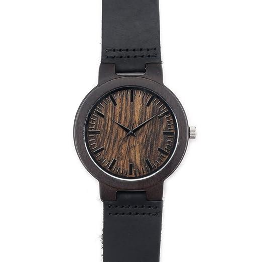 Moderno Hombre Personalizado Grabado Personalizado Hecho A Mano Regalo Reloj de pulsera madera de bambú natural, con correa de cuero madera para groomsmen: ...