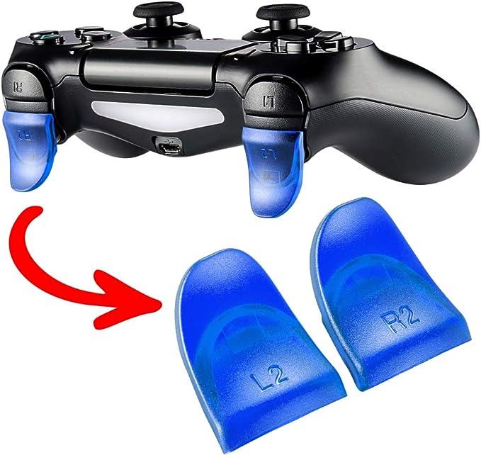 eXtremeRate 2 Pares de Gatillo Extensor L2 R2 Disparador de bontones Ajustables quickfire Trigger para Mando de Playstation 4 PS4 con JDM-030(Azul): Amazon.es ...
