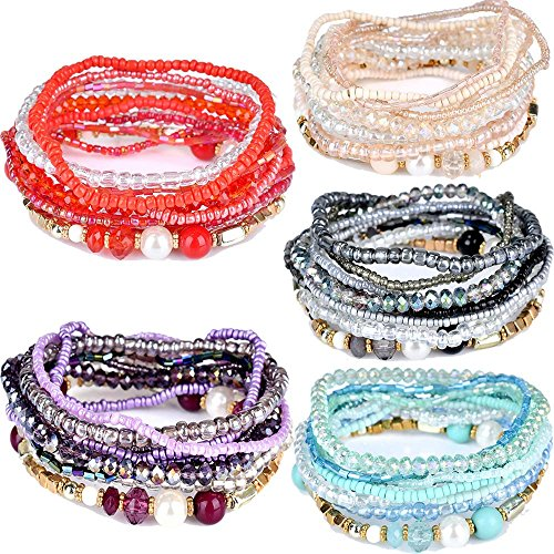 Beaded Stretch Bracelet Bangle (yunanwa 5 Pack Multilayer Bohemian Beaded Bangle Bracelet Crystal Charm Stretch Beach 7 PCS Set Boho Jewelry for Women Men Link Wrist Chain (5 Pack-8037))