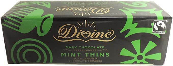 SEASONAL Divine Dark Chocolate Fairtrade After Dinner Mint Thins 200G