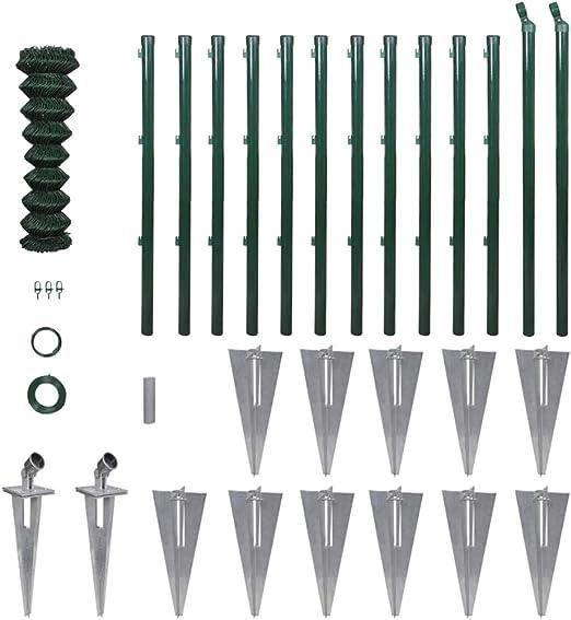 Set de Valla de Cadena-Enlace con Anclas de pincho de Postes Y Otros Accesorios de 1.0 x 25 m: Amazon.es: Hogar
