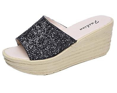 Frauen Casual Sommer Pantoletten Wedge Sandalen Peep-Toe Plateau Schuhe Bequeme Hausschuhe