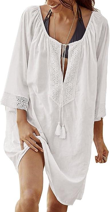 Juleya Mujer Vestido de Playa Túnica de Encaje algodón Protección UV Camisa Larga Poncho de Playa de Color sólido Suelto Traje de baño Bikini Cover up Suave y cómodo: Amazon.es: Ropa y