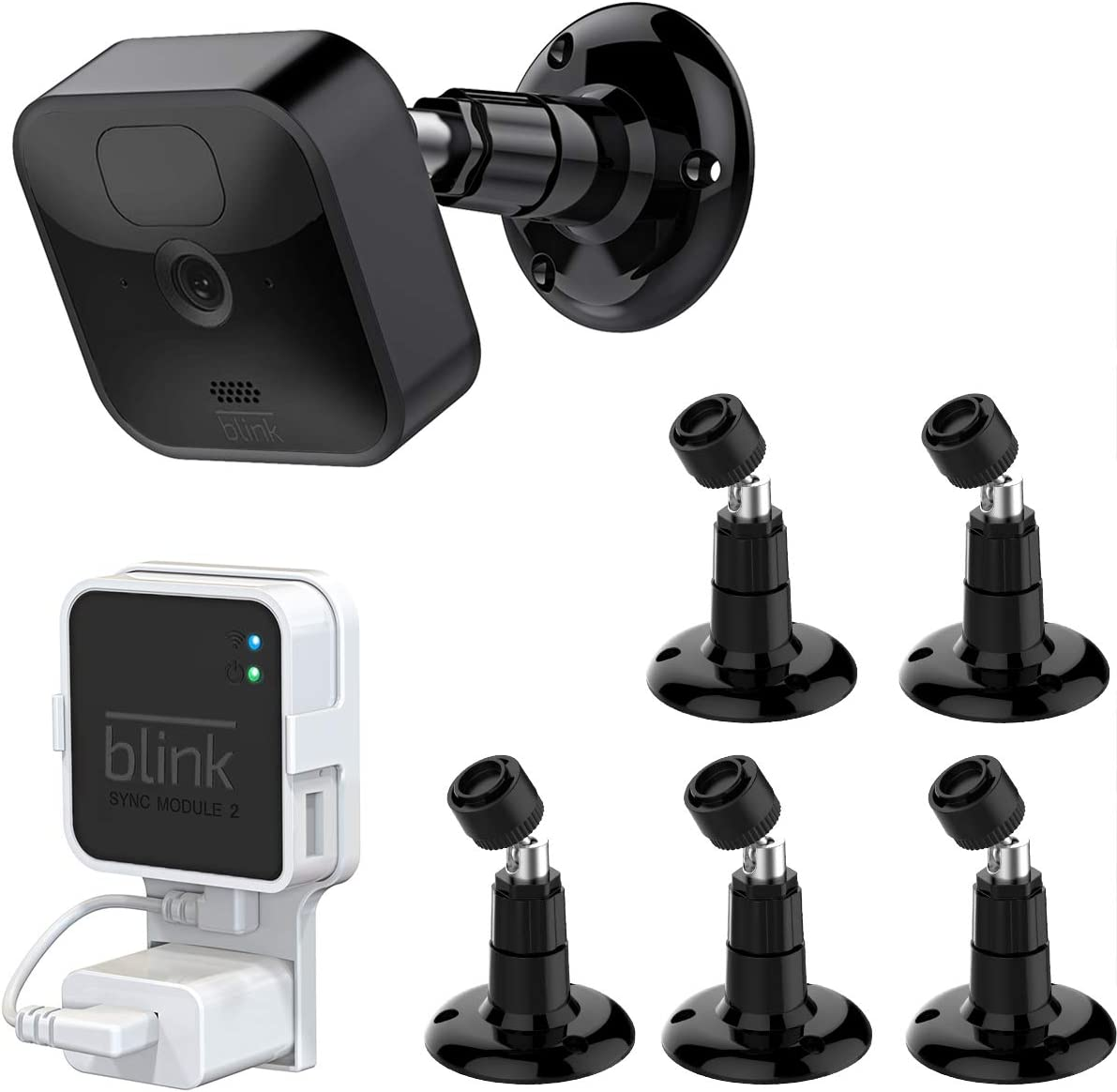 Blink Outdoor Camera Mount, 360 Degree Adjustable Mount with Blink Sync Module 2 Outlet Mount for All-New Blink Outdoor Indoor Security Camera System (Black, 5 Pack)