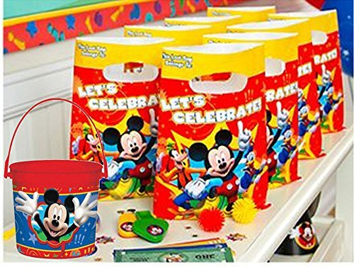 Mickey Mouse Clubhouse All Inclusive PRE-FILLED Birthday Party Favor Pack! Includes Goodie Bags, Souvenier Favors & Miniature Treats! Plus Bonus Keepsake Favor Bucket For Birthday ()