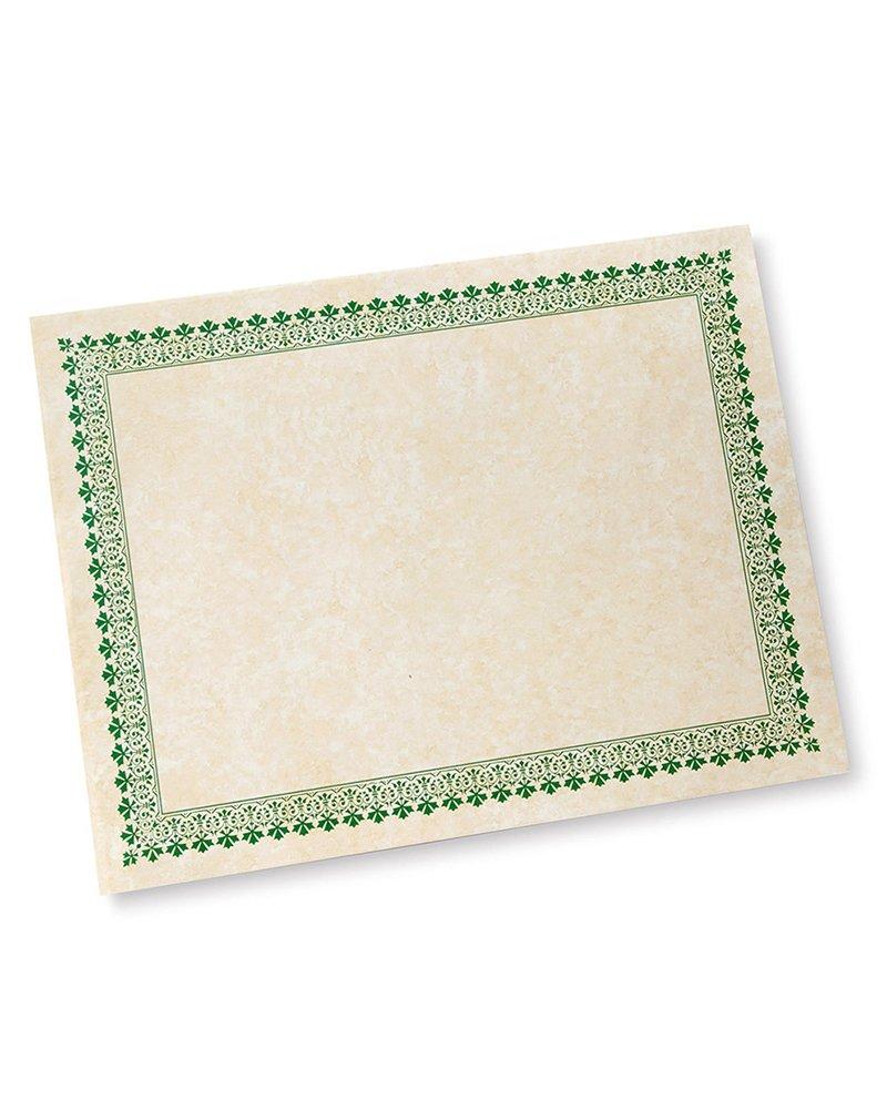 Green Border Paper Certificates - 100 CT