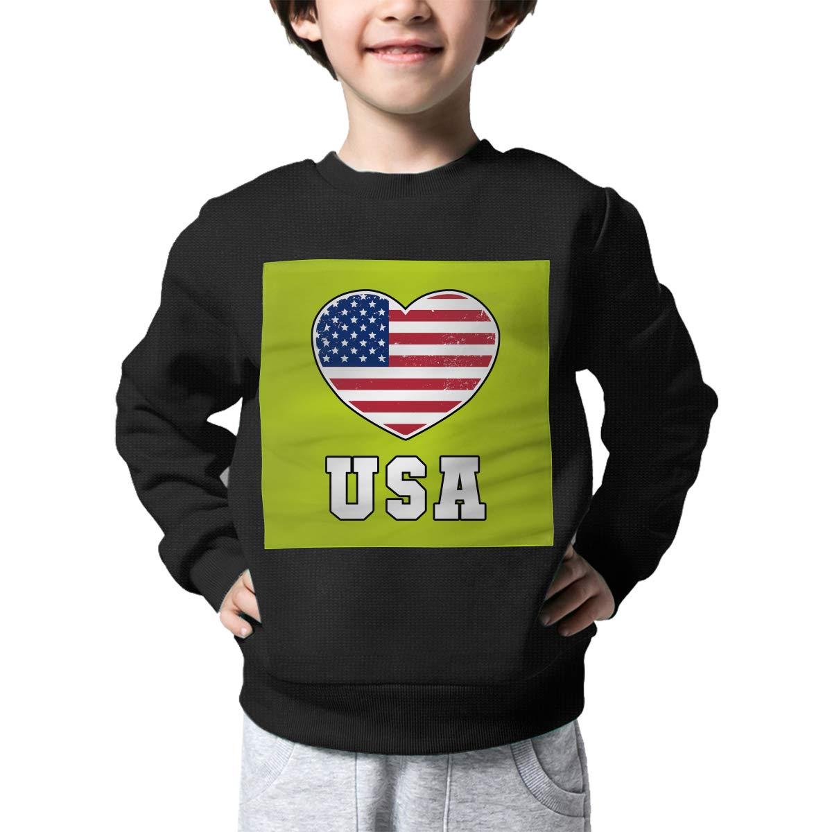 AW-KOCP Childrens Patriotic USA Heart American Flag Sweater Baby Boys Outerwear