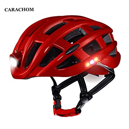 CARACHOME Casco Bicicleta con luz Trasera LED + Casco ...
