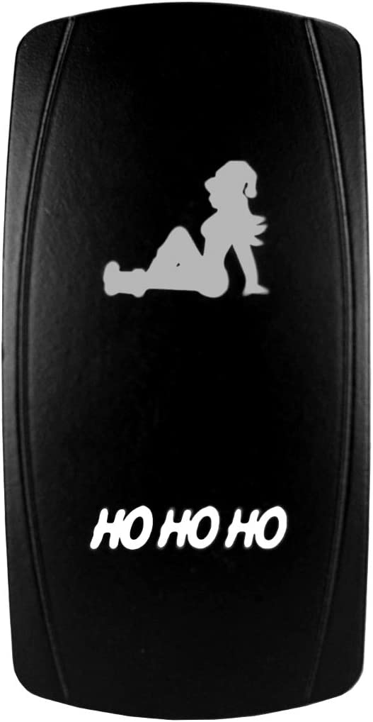 HO HO HO Universal On//Off Laser Rocker Switch Bright Light Powersports 12 Volt Green