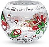 Perfect Paisley Holiday by Pavilion Crackled Glass Candle Holder, Family Sentiment, 4-Inch Round