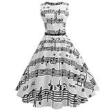 Robe de Soiree Femme, Vintage 1950's Audrey Hepburn Rétro Pin-up Ceremonie Robe Cocktail Couleur Unie sans Manches Grande Taille Années 50 60 à Pois Rockabilly Party Dress JiaMeng