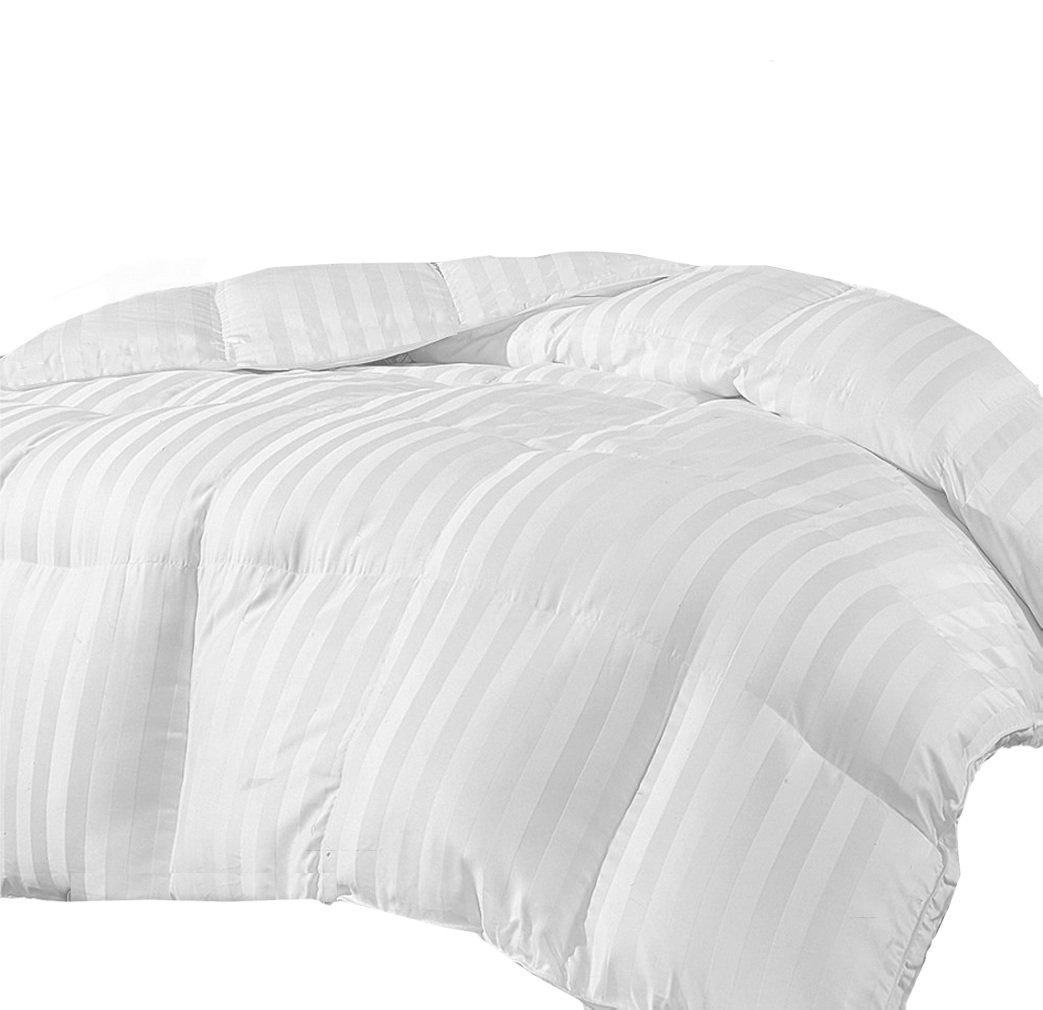 MARRIKAS REVERSIBLE MicroFiber Down Alternative QUEEN Comforter WHITE STRIPE