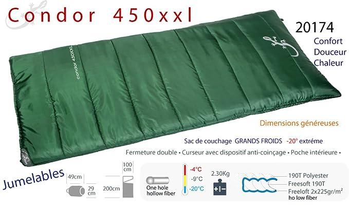 Condor 450xxl - Saco de dormir para frío intenso (hasta -20 °C), diseño de manta: Amazon.es: Deportes y aire libre