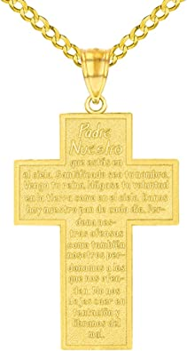 14k Yellow Gold Padre Nuestro Religious Cross Pendant