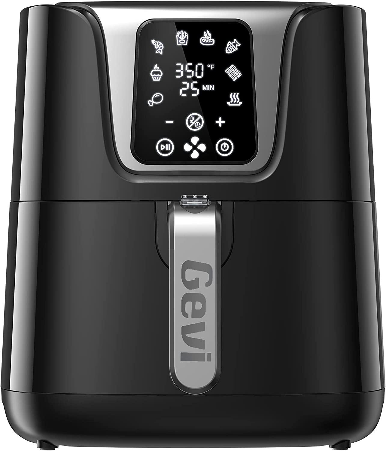 Gevi Air Fryer with 7 Presets, 3.8 Quart Oilless Air Fryer Oven with 60 Minute Timer, LED Touch Digital Screen, Nonstick Basket & Auto Shutoff, BPA-free & UL Certified, 1500W(Black)