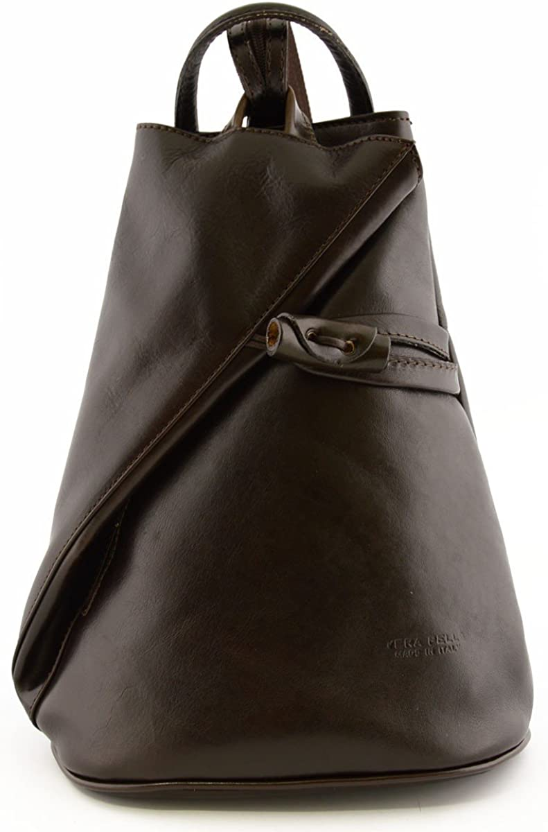 Leather Backpack for Women with Zipped Straps Color Dark Brown