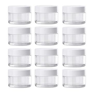 12 unids 3 oz Vaciar de Plástico Ancho Ancho Botella de Almacenamiento de Botellas Frascos Contenedores con Tapa de Rosca Blanca para Alimentos Cosméticos ...