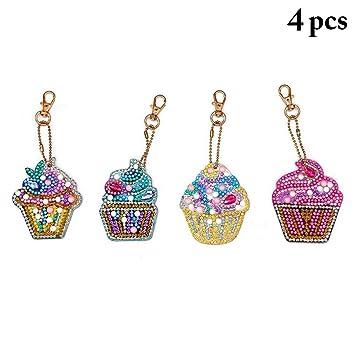 Joyibay 4 Sets Helado Mini Diamante Pintura Llavero Llavero ...