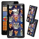 [TeleSkins] - Microsoft Lumia 540 Designer Plastic Case - Galaxy Hipster Cat Pizza - Ultra Durable HARD PLASTIC Protective Snap On Back Case / Cover for Microsoft Lumia 540.