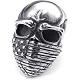 Konov Jewellery Mens Stainless Steel Ring, Biker Classic Gothic United States Flag Skull, Color Black Silver (with Gift Bag)