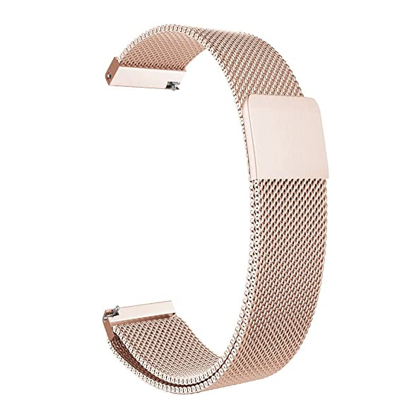 For Pebble Time Round 14mm Watch Band, ViCRiOR Quick Release Milanese Loop Stainless Steel Bracelet Watch Strap with Strong Magnet for Pebble Time ...