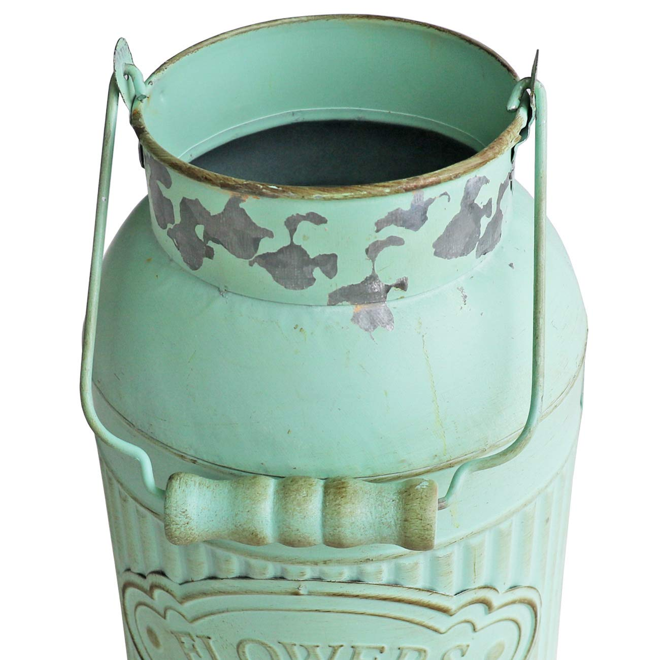 HyFanStr Shabby Chic Green Painted Milk Can Style Metal Vase Flower Pitcher Jug Pot by HyFanStr (Image #5)