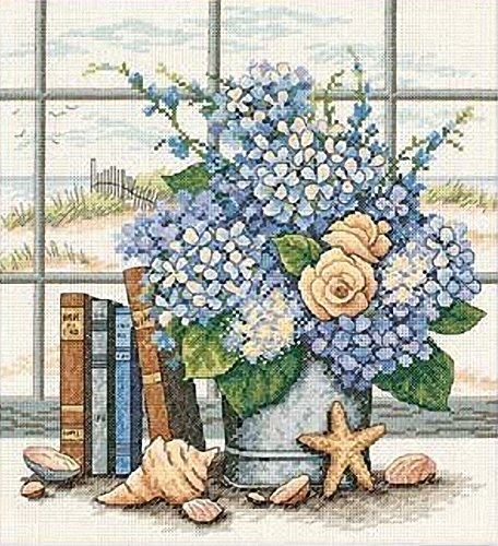 House Counted Cross Stitch - Dimensions 'Hydrangeas and Sea Shells' Counted Cross Stitch Kit, 14 Count White Aida, 11