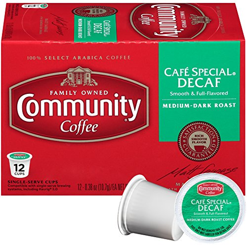 Community Coffee Café Special Decaf, Medium-Dark Roast, 12 Count Single Serve Coffee Pods, Pack of 6, Compatible with Keurig K-Cup Brewers