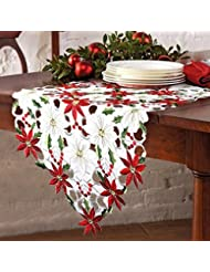 PartyTalk Christmas Embroidered Table Runner, Luxury Poinsettia And Holly Table  Runner For Christmas Decorations,