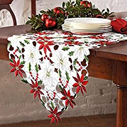 Christmas Embroidered Table Runners Poinsettia Holly Leaf Table Linens for Christmas Decorations 15 x 69 Inch